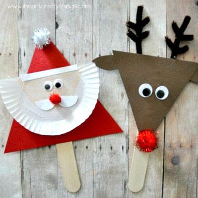 DIY Santa and reindeer stick puppet - fun Christmas craft for kids
