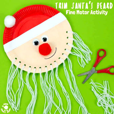 DIY Trim the beard paper plate Santa craft