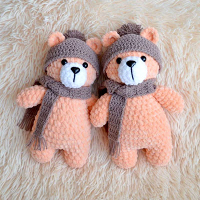 Amigurumi Cake In The Form Of A Bear Cub. Knitted Toy. Stock Image ... | 400x400