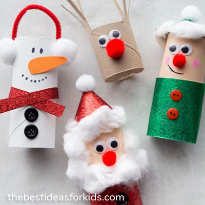 DIY Toilet paper roll Santa, snowman, reindeer and elf - Christmas craft for kids