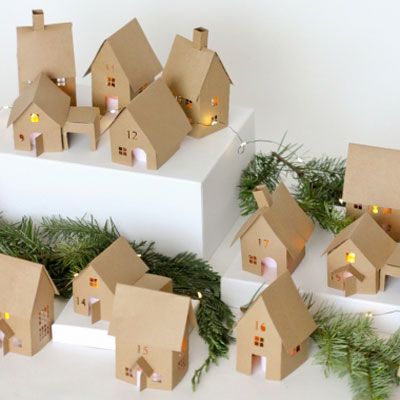 Christmas village advent calendar ( free paper house cutting files )