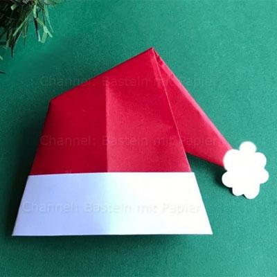 DIY Origami Santa hat - easy paper craft for kids