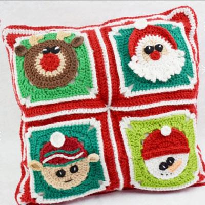 Christmas granny squares: Santa, reindeer, snowman, gingerbread man & elf ( free patterns )
