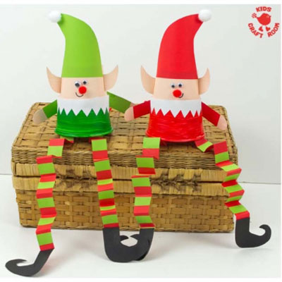 DIY Jumping paper cup elf - fun Christmas craft for kids