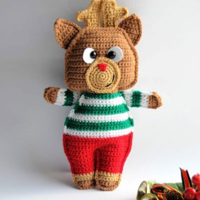 Rudolph the red nosed reindeer ragdoll - free crochet pattern