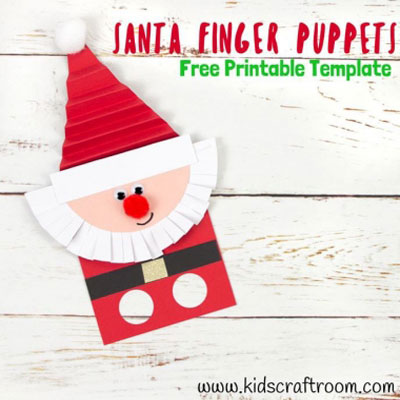 DIY Santa finger puppet - Christmas craft for kids (free printable)