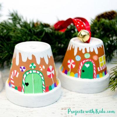 DIY Terracotta pot gingerbread house ornament
