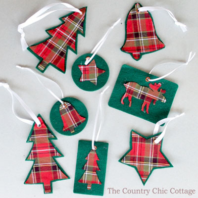 Easy DIY Plaid Christmas tree ornaments (free template)