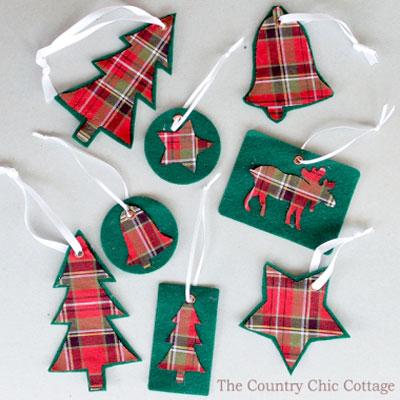 Easy DIY Plaid Christmas tree ornaments (free template)