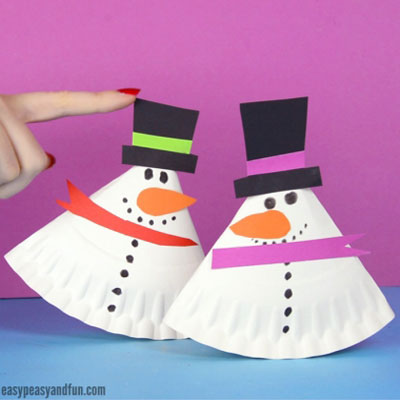 DIY Rocking paper plate snowman - fun winter craft for kids