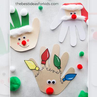 Easy DIY handprint Christmas cards (Santa, reindeer & elf)