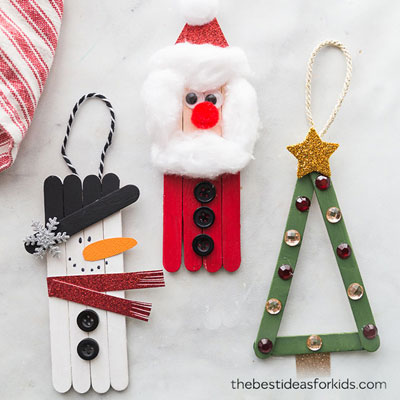 Fun popsicle stick Christmas crafts for kids (Santa, snowman & Christmas tree)