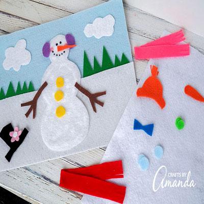 DIY Felt dress up snowman game - fun winter craft for kids