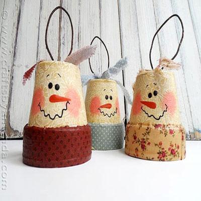 DIY Rustic clay pot snowman - Christmas decoration