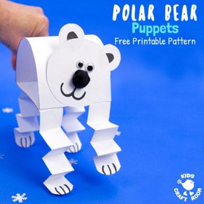 DIY paper puppet polar bear - fun winter craft for kids