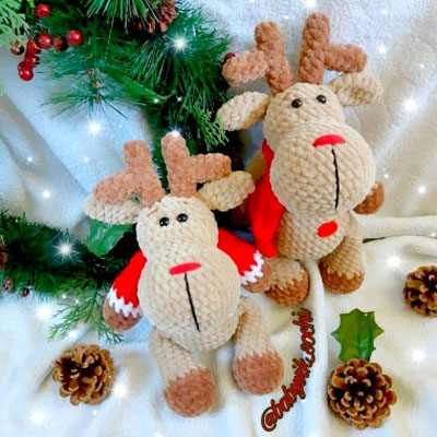 Amigurumi Tobi Christmas Deer in Hat Free Crochet Pattern - Crochet # Amigurumi; #Reindeer; Toy Softies Free Patterns • DIY How To | 400x400