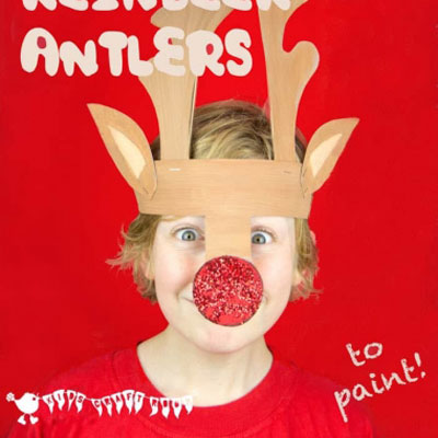 DIY Paper reindeer antler headband - Christmas hat (free printable)