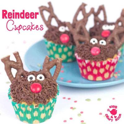 Rudolph reindeer cupcake - Christmas cupcake recipe