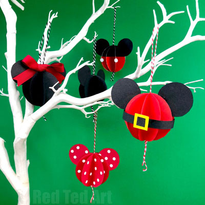 DIY paper ball Mickey and Minnie mouse ornament