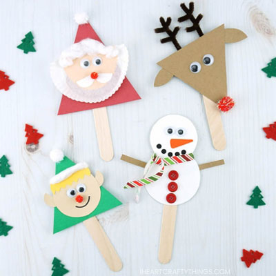 Easy DIY Christmas craft stick puppets (Santa, reindeer, elf & snowman)