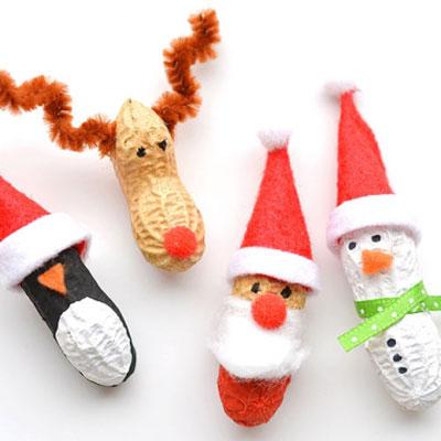 DIY Peanut Christmas ornaments (Santa, reindeer, penguin and snowman)