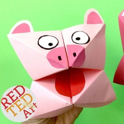 DIY Paper pig cootie catcher (fortune teller) - origami for kids