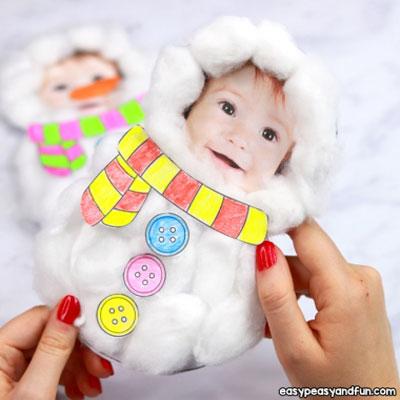 DIY Cotton ball snowman Christmas card - winter craft for kids