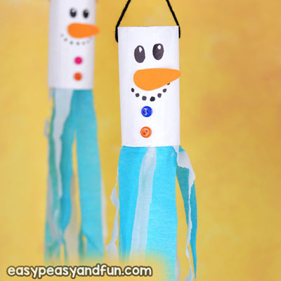 DIY Snowman windsock - fun toilet paper roll winter craft for kids