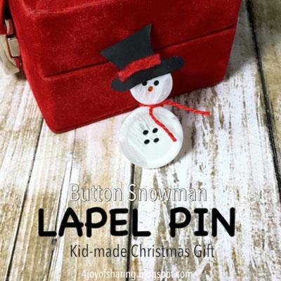 Little button snowman ( button snowman lapel pin )