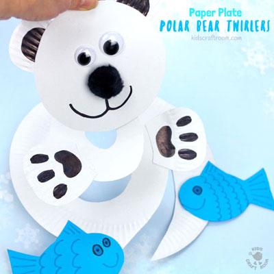 Adorable paper polar bear twirler - winter craft for kids