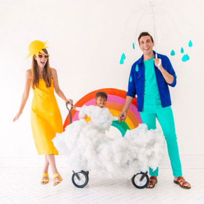 DIY Family weather costume (sun,rainbow and rain costume)