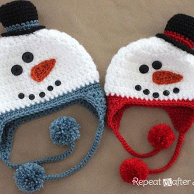 Crochet snowman hats (with crochet pattern)
