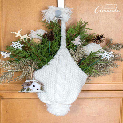 DIY Knitted hat door hanging - winter decoration