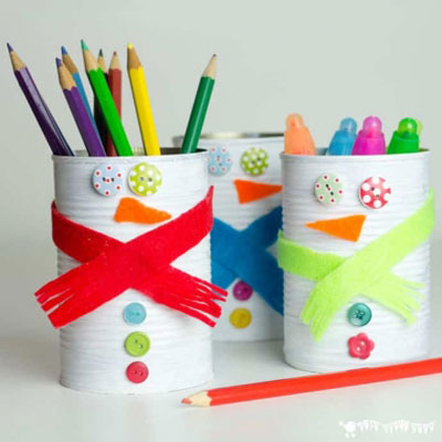 DIY Tin can snowmen pencil holders - winter craft for kids