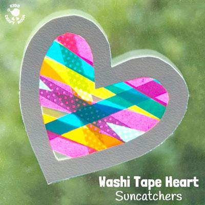 DIY Washi tape heart suncatchers - Valentine's day craft for kids