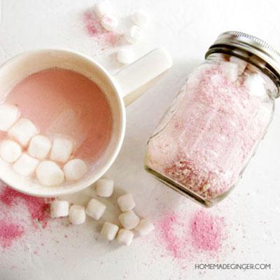 DIY Pink hot chocolate mason jar gift - Valentine's day gift