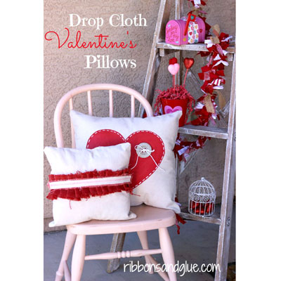 Valentine's day drop cloth pillows - DIY Valentine's day home decor