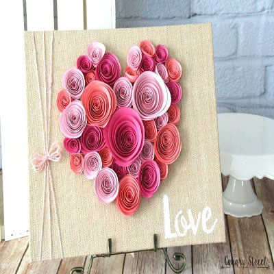 Easy DIY spiral paper flower heart - Valentine's day craft