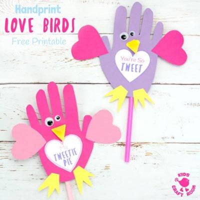 DIY Valentine's day handprint lovebirds