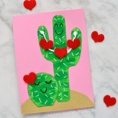 DIY cactus Valentine card with felt hearts - Valentine's day craft for kids