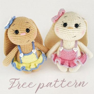 Little amigurumi bunny in ruffled dress (free crochet pattern)