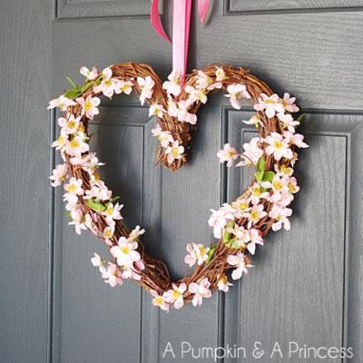 DIY Heart shape grapevine wreath with pretty flowers