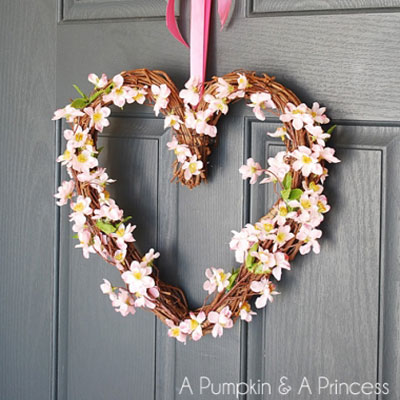 DIY Heart shape grapevine wreath with pretty flowers