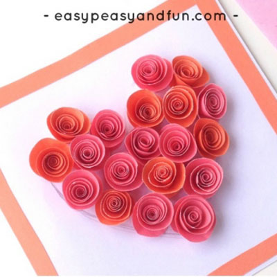 DIY Rose filled heart card - Valentine's day card