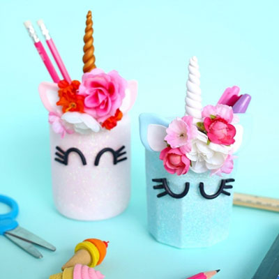 DIY Mason jar unicorn pencil holder
