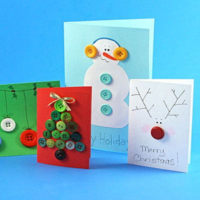 Homemade christmas cards with buttons