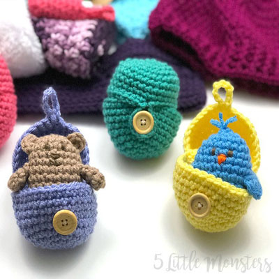 Amigurumi surprise egg with 4 different animals (free amigurumi patterns)