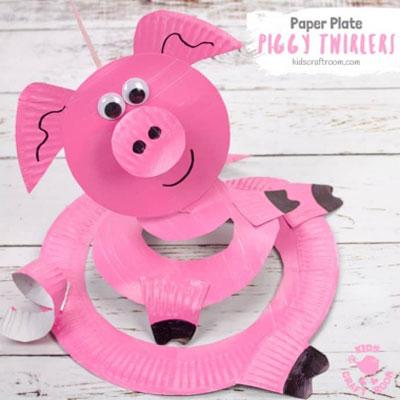 DIY Paper plate pig twirler - fun paper craft for kids