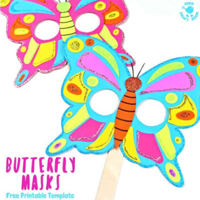 DIY Paper butterfly mask - fun spring craft for kids