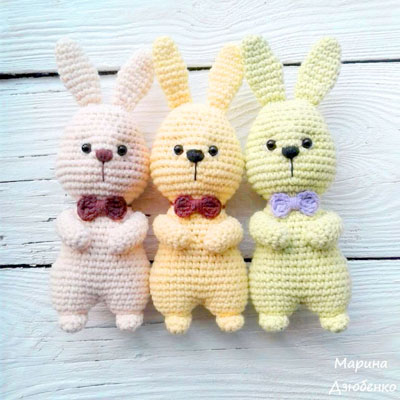 Amigurumi bunny in bow tie (free crochet pattern)